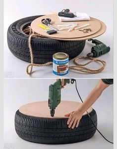 icu ~ Transform A Tire To A Beautiful Table! DIY in 2019 Tire Furniture, Diy Furniture Decor, Recycled Furniture, Handmade Furniture, Diy Bedroom Decor, Tire Seats, Tire Chairs, Diy Para A Casa, Diy Casa