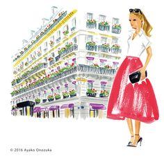 ayako onozuka #illustration #Fashion #Watercolor #イラストレーション #ホテル #建物  #女性 #Woman #landscape #paris #Hotel
