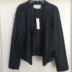 Real Leather Jacket Draped front leather jacket. A feminine leather jacket that would work for any occasion. 100% leather. Lined jacket. Never been worn. Fit small to small/medium. Cashmere and Cupcakes collab with BB Dakota BB Dakota Jackets & Coats