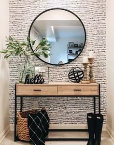 Umbra HUB MIRROR is a classic and timeless piece that effortlessly completes your wall while opening up the room. Photo by – Mudroom Boho Living Room, Home And Living, Living Room Decor, Bedroom Decor, Living Room Colors, Living Room Modern, Living Room With Mirror, Dining Room Mirror Wall, Picture Wall Living Room