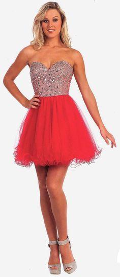 Homecoming Dresses Winter Ball Dresses under $200<BR>22015<BR>Netted tulle, sleeveless, strapless, short dress with sweetheart neckline