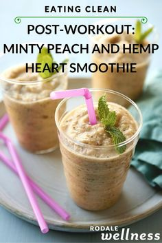 Clean eating healthy Post-Workout Smoothie: Minty Peach and Hemp Heart Smoothie recipe