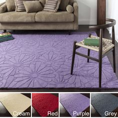 Hand Loomed Toledo Casual Solid Tone-On-Tone Floral Wool Area Rug-(5' x 8') | Overstock™ Shopping - Great Deals on 5x8 - 6x9 Rugs