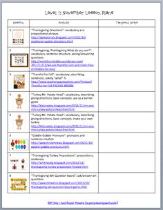 November Lesson Plans (Free from If Only I Had Super Powers)