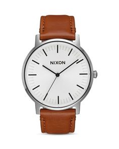 Modern and minimalist, easy and elegant, this sleek, slim forward-thinking design from Nixon is rooted in tradition yet has an eye on the future. | Imported | Case size: 40mm | Buckle closure | Water