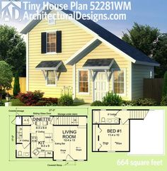 Architectural Designs Tiny House Plan 52281WM gives you just over 650 sq. ft. of…
