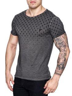 K&D Men Top Skulls Dyed T-shirt - Dark Gray
