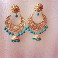 Turquoise Jhumkis - Online Shopping for Earrings by Ze Panache