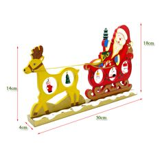 Table Mini Wood Deer With Santa Claus For Natal Navidad  Christmas Decorated Wood Crafts  Decor Wooden Christmas Ornaments Gifts