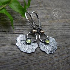 Silver Leaf Earrings Dangle Earrings Peridot Jewelry Green