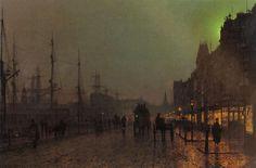 Gourock, Near The Clyde Shipping Docks by John Atkinson Grimshaw. Impressionism. cityscape. Private Collection