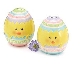 Ceramic Easter Egg Chick Face Salt & Pepper Shakers GIFT burton & BURTON 150532 #burton