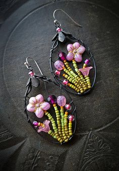 Flowers Wire Wrapped Hoops Pink Blossom Series Artisan