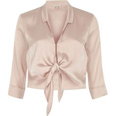River Island Pink satin tie front cropped shirt (€51) ❤ liked on Polyvore featuring tops, shirts, pink, women, tie front shirt, shirt crop top, 3/4 sleeve tops, 3 4 sleeve crop top and pink top