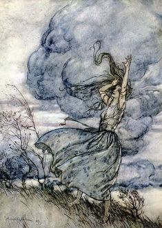 "When the storm threatened to burst on their heads, she uttered a laughing reproof to the clouds. ""Come, come,"" saith she, ""look to it that you wet us not"" - Undine by de la Motte Fouqué, 1909"