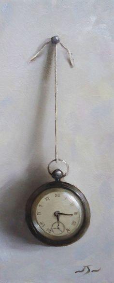 Original Oil Painting - Pocket Watch - Contemporary Still Life Art - Neil Nelson