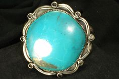 HUGE NAVAJO STERLING SILVER BLUE TURQUOISE BRACELET NATIVE AMERICAN DEAD PAWN in Jewelry & Watches | eBay