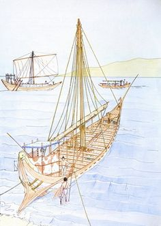 """Ship of Thera The earliest representation of Early Bronze Age vessel date from the 3rd millennium B.C. and their provenance are the Cyclades islands and Crete. Several long ships with a large number of oars are represented, incised, on the so-called """"frying pans"""". These are earthenware, rounded, with a shallow rims and their use is still a matter of controversy among archaeologists. They are dated from 2.800 to 2.300 B.C."""
