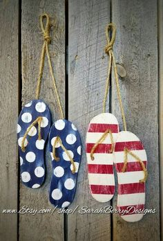 Items similar to Flip Flop Decor - American Flag -Wooden Flip Flops -Summer Decorations-Summer Wreath - Beach Decor - of July-Front Door Wreath-Patriotic on Etsy Beach Crafts, Summer Crafts, Flip Flop Craft, Christening Decorations, Decorating Flip Flops, Flip Flop Wreaths, Summer Door Wreaths, Wreath Hanger, 4th Of July Decorations