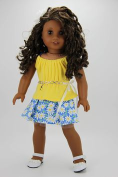 Handmade 18 inch doll clothes - Yellow and blue 4 piece skirt outfit (543) by DolliciousClothes on Etsy