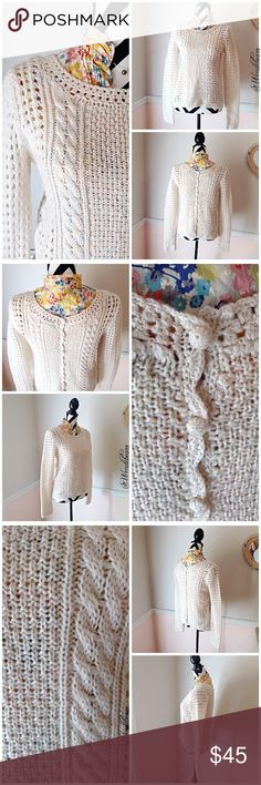 Lucky Brand Cream Ivory Loose Knit Sweater Vintage Inspired Cream Loose Knit Sweater. Blouse not included. Used, Great Condition. Worn only a few times. Little to no pilling. No loose strings, No stains, No holes, No rips. Sweater is meant to look hand knitted. Feel free to ask questions. Measurements provided upon request. 🚫NO TRADES🚫 Lucky Brand Sweaters Crew & Scoop Necks