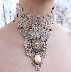 Steampunk choker | Pinkabsinthe Designs. Ivory venice victorian lacer collar with elegant pearl pendant angels wings skul watch necklace