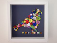 MultiColoured Framed Button Bird Picture by helenrobin on Etsy, $55.00