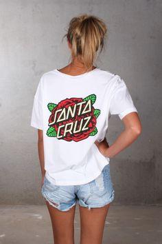 Santa Cruz - Rose Dot Oversized Tee White