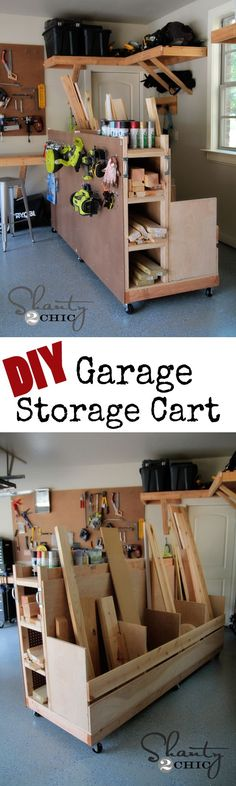 DIY: How to Build this Lumber Storage Cart - excellent tutorial, including detailed plans and lots of pictures showing how to build this space-saving cart - via Shanty 2 Chic Lumber Storage, Diy Garage Storage, Garage Organization, Wood Storage, Storage Cart, Record Storage, Storage Ideas, Cardboard Storage, Kayak Storage