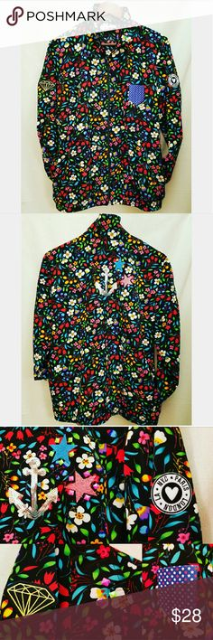Vintage Neon Floral Patched Bomber Jacket So funky!! ONE OF A KIND  light weight No lining Pockets! 100% polyester  Excellent vintage condition Vintage  Jackets & Coats Utility Jackets