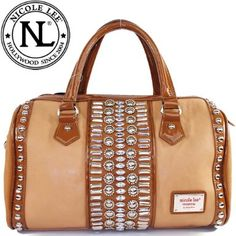 Click Here and Buy it On Amazon.com $59.99 Amazon.com: Nicole Lee Ariana Stud Works Boston Bag Gemstones Rhinestones Stud Detail Tote Satchel Boston Handbag Purse with Adjustable Shoulder Strap in Camel Brown: Clothing