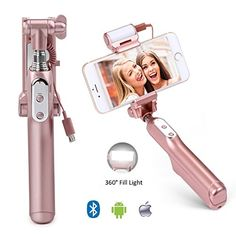 BaliChun Selfie Stick for iPhone Bluetooth Selfie Stick with 360 Degree Led Lights and Mirror Samsung Galaxy s7 edges4 Android System PhonesRose Gold *** More info could be found at the image url.