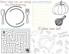 Free Printable Thanksgiving Placemat Thanksgiving Coloring ...