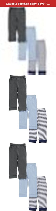 """Luvable Friends Baby Boys' """"Stripes & Solid"""" 3-Pack Pants - blue/gray, 6 - 9. Stock up on super-soft pants with this 3-pack from Luvable Friends! They're made of soft jersey cotton, with elastic waistbands and fitted cuffs. 100% Cotton Machine Wash Warm Imported."""