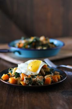 Butternut squash hash with apples, sausage and kale. #paleo #breakfast #healthy