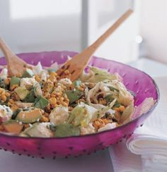 Pan-Grilled-Corn Salad with Avo and Feta