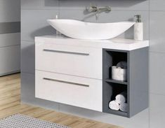 Elita Kwadro zestaw szafka pod umywalkę nablatową biały/grafit 80 cm +umywalka nablatowa Piato