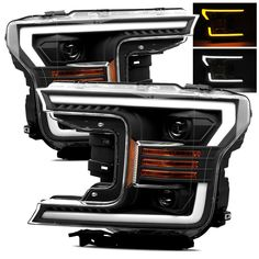 For 18-19 Ford F150 Switchback DRL/Signal LED Tube Black Projector Headlights #RacerInnovation