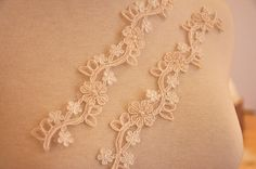 Champagne Beaded Lace Applique for Bridal Veil Wedding by lacetime