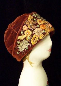 brown velvet 1920s cloche with ribbon embroidery.