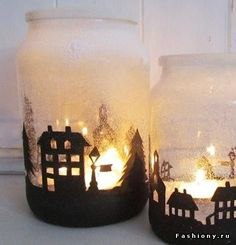 DIY идеи декора на Рождество и Новый год.   Вырезанные из бумаги элементы приклеиваются снаружи.