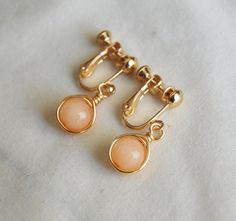 Peach Clip On Earrings by CoolJewelCreations, $13.00