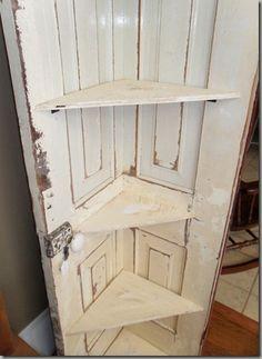 Old doors to make corner cabinet.