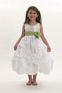Flower Girl Dress Style 3284- White or Ivory with Apple Green Sash