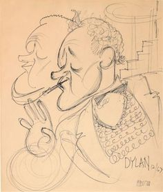 Artwork by Al Hirschfeld, Alec Guinness As Dylan Thomas, Made of ink on paper