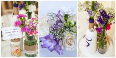 The Handmade Mum: wedding table flowers in jars and bottles