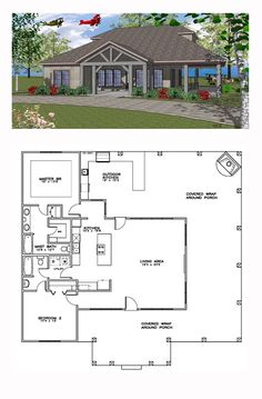 Coastal House Plan 59391 | Total Living Area: 1385 sq. ft., 2 bedrooms and 2 bathrooms. #coastalhome