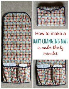 Sew your own baby changing mat in thirty minutes · vicky myers creations Need a thrifty baby gift in a rush? Sew up a baby changing mat in thirty minutes. Step by step tutorial. This is a great gift for any expectant mother. Baby Sewing Projects, Sewing Projects For Beginners, Sewing Hacks, Sewing Crafts, Sewing Tips, Sewing Ideas, Baby Sewing Tutorials, Fabric Crafts, Baby Changing Mat