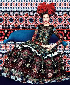 Prints of the Season by Erik Madigan Heck for Harpers Bazaar March 2014 Elisabeth Erm in Carolina Herrera.