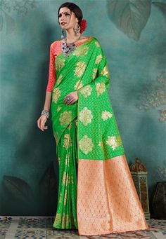 Parrot green saree with blouse. Paired with matching blouse piece. Parrot Green Saree, Buy Designer Sarees Online, Indian Sarees Online, Casual Saree, Art Silk Sarees, Traditional Sarees, Green Fashion, Festival Wear, Saree Collection